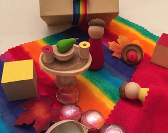 Rainbow Story in a Box - Wooden Dolls