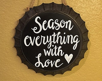 Rustic kitchen decor, chalkboard pie pan, season everything with love, kitchen chalkboard, country kitchen