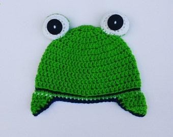 Handmade crochet Caleb frog hat