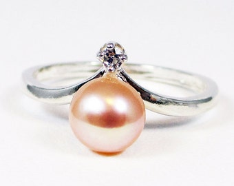 Peach Pearl and CZ Ring Sterling Silver