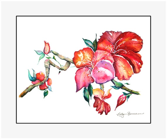 """Chinese Hibiscus giclee print of an original watercolor painting on 100% cotton rag, natural white, 24"""" x 20"""" matted and backed"""