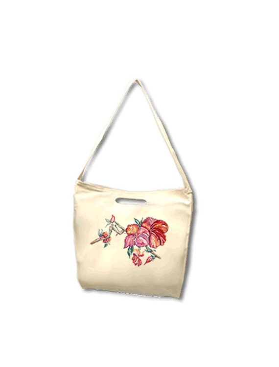 Chinese Hibiscus Beach Tote, Bull Denim woven cotton, derived from an original watercolor painting by Kathy Baumann