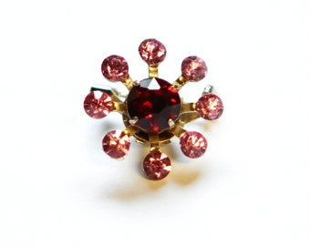 Vintage 1950's CORO mid century modern pink and red rhinestone pin, valentine's day gift, signed estate jewelry