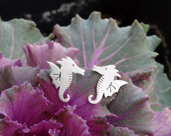 Silver seahorse earrings, Seahorse earrings, Sterling silver earrings, Silver stud earrings, Seahorse studs, Silver women earrings, Seahorse