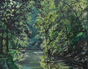 River Walk - Embellished Giclee Print of Oil Painting on Stretched Canvas
