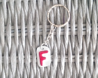 License Plate F Key Ring - Number Plate Keychain / Zipper Charm - Initial / Letter