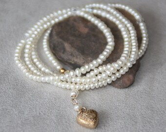 4mm white pearls wrap bracelet. Wrap Bracelet. Bracelet or necklace. Wedding gifts. Bridesmaid jewelry. Handcrafted jewelry.