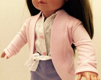 18 inch doll denim skirt, blouse, and cardigan