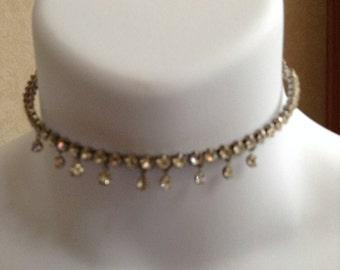 Vintage Rhinestone Choker Necklace Wedding Prom