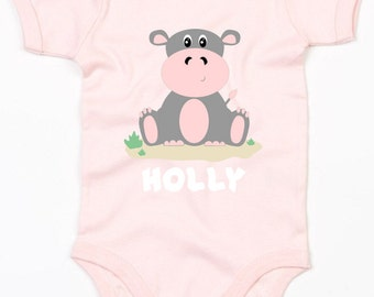Personalised hippo baby vest/bodysuit girls clothing