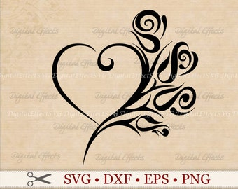 HEART ROSE SVG File, Tribal Heart Svg, Png, Dfx, Eps, Heart Tattoo Svg, Rose Tattoo Svg, Heart and Rose Valetine Svg Silhoutte Studio Cricut
