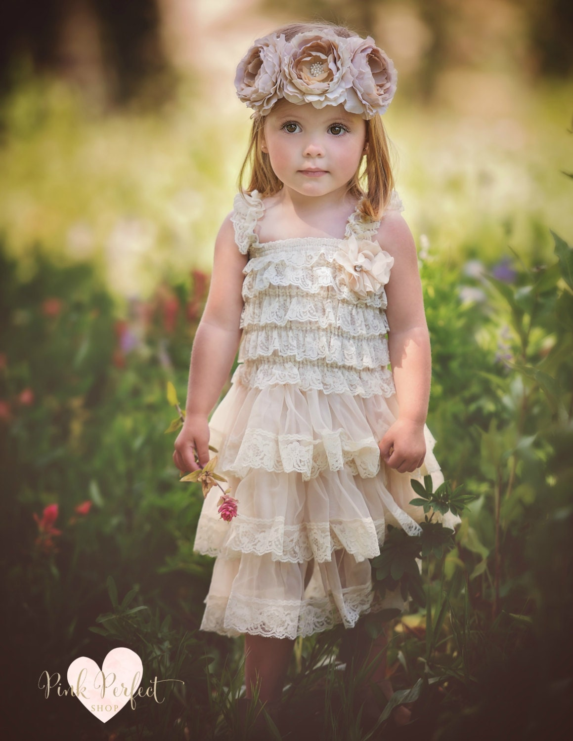 Flower girl dress country flower girl dress rustic flower