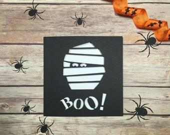 Mummy Papercut Halloween Card, Trick Or Treat, Boo, Halloween Party Invitation, Papercut Card, Hallow'een, Halloween Gift, Mummy Card