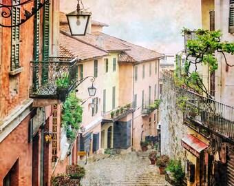 Bellagio  Italy, Lake Como, Stone Staircase, Italian Lakes, Multi Color Buildings, Lake Como Wall Decor, Textured Photo, Italy Travel