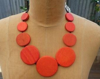 Wooden Orange/Red beads