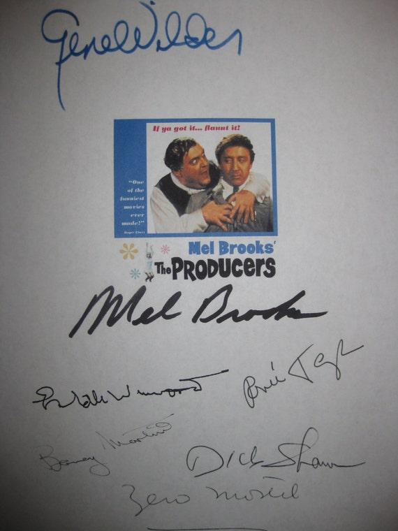 The Producers signed Film Movie Screenplay Script X7 Autograph Gene Wilder Mel Brooks Zero Mostel Estelle Winwood Barney Martin Renee Taylor