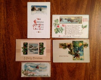 Vintage Holiday Postcards 1913-22 - SALE