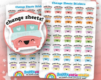 35 Cute Change Sheets/Bed/Clean Planner Stickers, Filofax, Erin Condren, Happy Planner,  Kawaii, Cute Sticker, UK