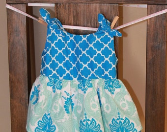 Handmade infant girls 6 month dress with matching bow