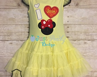 Size 3T Tutu Dress w/ I Love Minnie Applique Use Coupon Code OHBOY for 10% Off