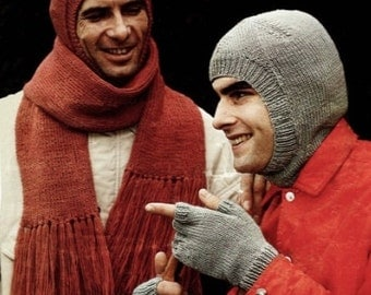 Mens Balaclava, Scarf And Fingerless Gloves, Knitting Pattern. PDF Instant Download.