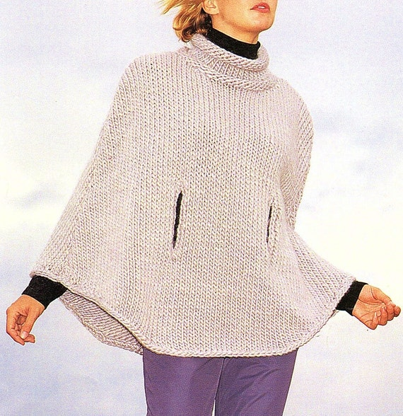 Ladies Cape Easy Knit Knitting Pattern. PDF Instant