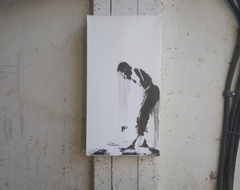 Dark Art Oil Painting Being Human Artwork. 'Wednesdays Child' Silhouette of a Man Crying. Original Minimal, Emotive Modern Abstract Art.