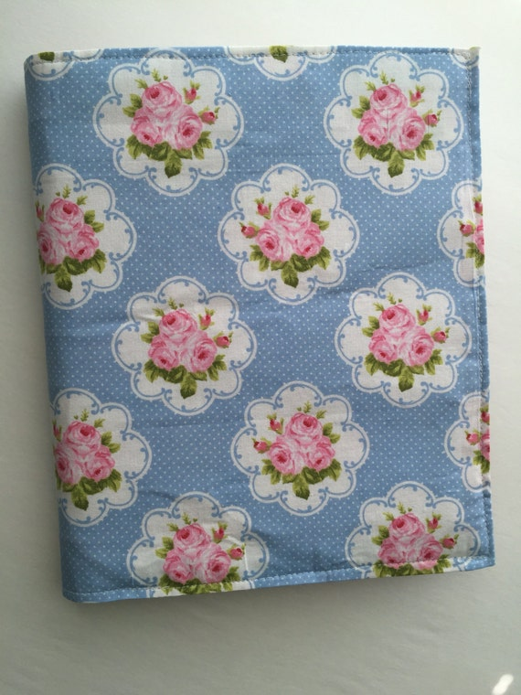 Happy Planner fabric cover - pink and light blue floral