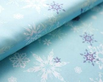 Disney Fabric, Frozen Fabric, Sateen Fabric, Large Snowflakes, Coordinates, Mint Ice Blue, Cotton Satin, Wide, Half Metre