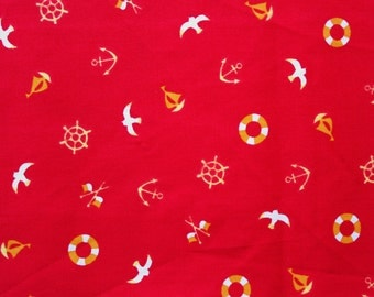 Japanese Fabric / Nautical Fabric / Cotton Fabric / Sevenberry / Red/ Anchors Birds Floats / Craft Sewing Quilting Supplies / Half Metre
