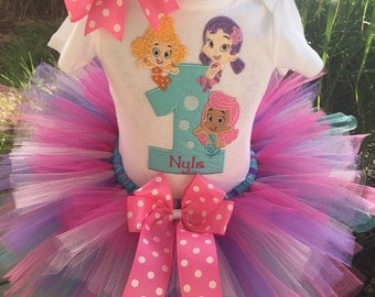 Bubble Guppies Birthday Tutu Outfit Dress Set Handmade 1st 2nd 3rd in Aqua Pink and Purple