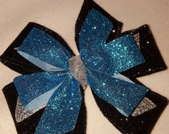 Carolina Panthers Hairbows, girls hairbow, double loop hairbow,  boutique hairbow