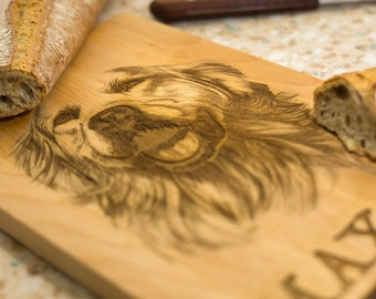 Personalized pet portrait, engraved cutting board, gift for pet lovers, housewarming gift for friends, wood dog portrait, unique custom gift
