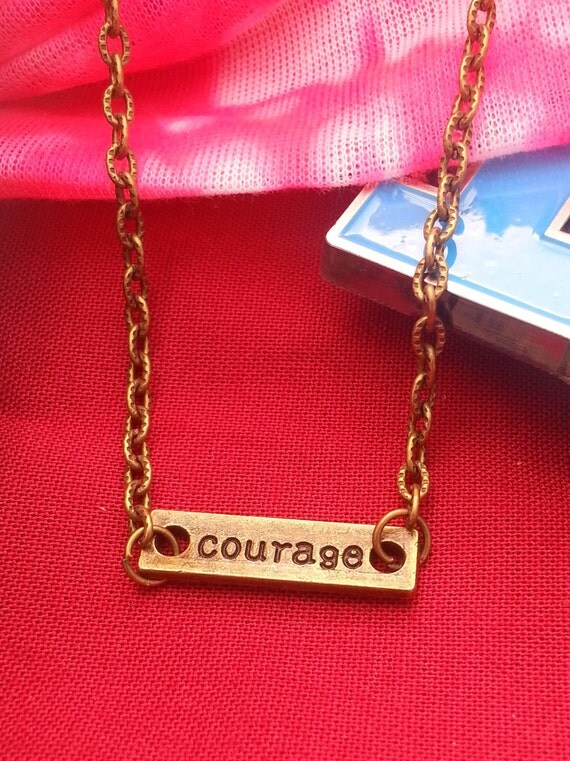 Antique Bronze Courage Necklace - Brave Charm Inspirational Jewelry - Mother's Day Gifts - Motivational Encouragement Gift - Courage Pendant