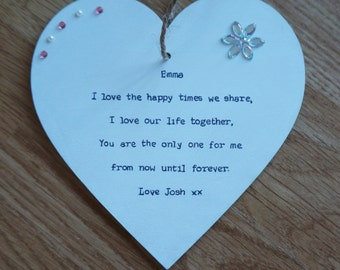 Girlfriend Anniversary Gift Personalised handcrafted heart Plaque Partner, Wife