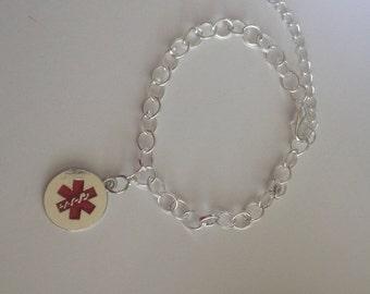 Silver Plated Medical Alert Charm Bracelet
