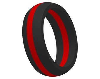 Mens Black w/ Red Line Silicone Wedding Engagement Ring Band FlexFit Medical Grade Athletic Gift for Husband Him Mans Jewelry FREE SHIPPING