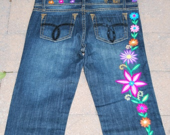 Fiorucci Safety JEANS, hand embroidered with gorgeous flowers by Peruvian artisans, SIZE 30X30
