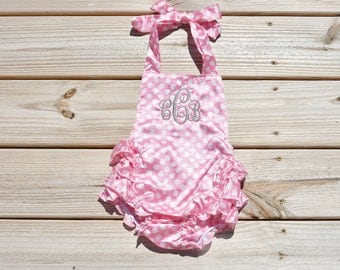Personalized Monogram Polka Dot Romper