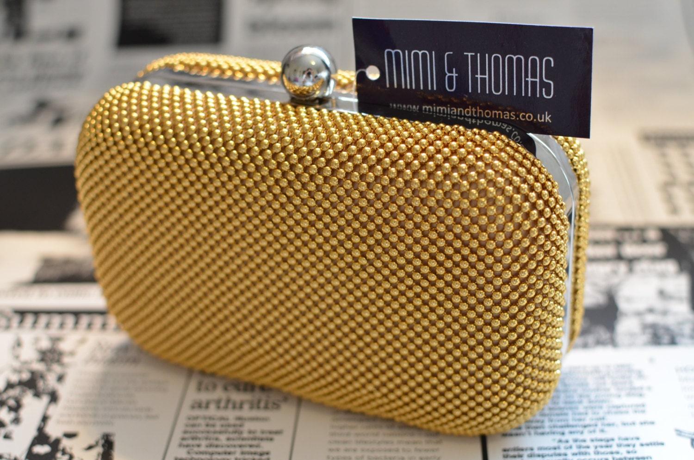yellow gold aluminium metal beaded hardcase evening clutch bag