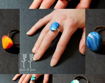 Stone rings in fimo-effettomare--effettofuoco-