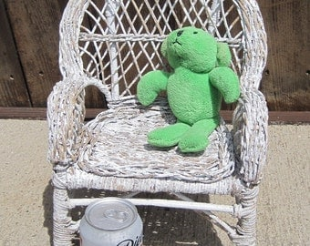 Wicker Doll Chair, Distressed Wicker Chair, Doll Chair, Doll Furniture