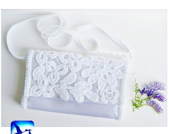 Wedding purse Bridal purse Christening Irich lace Satin Bridal Clutch Flower Purse Wedding Clutch Flower Wedding Purse by LaCigogne