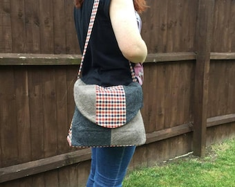 SALE - Tweed and felted cashmere  shoulder bag