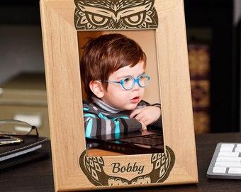 Hoo Do You Love? Wood Picture Frame - Family Room, Nursery Decor, Baby Boy