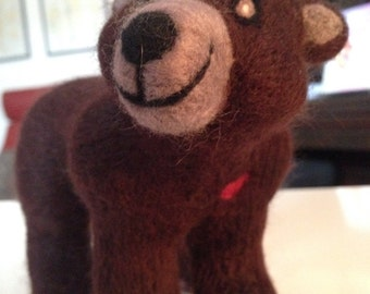 Needle Felted Brown Bear - Made to Order