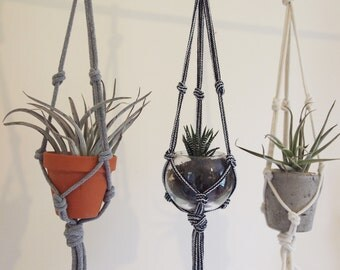 Macrame Plant Hanger for small pots; Home decor; wall hanger; cotton rope; plant and planter are  not included