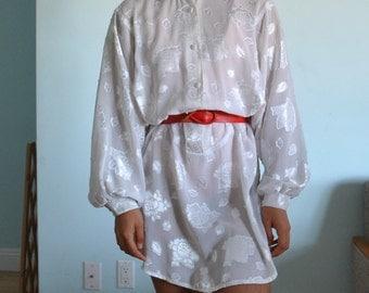 Vintage sz M white floral dress