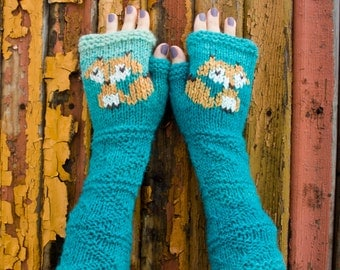Knit Fingerless Gloves, Blue Hand Warmers, Fingerless Mitts, Foxy Mitts