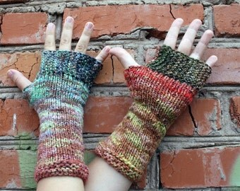 Knit Fingerless Gloves, Cozy Hand Warmers, Fingerless Mitts